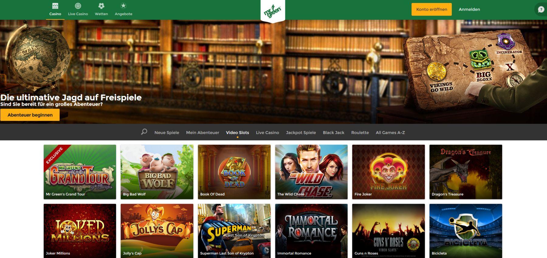 Mr Green Spiele Angebot